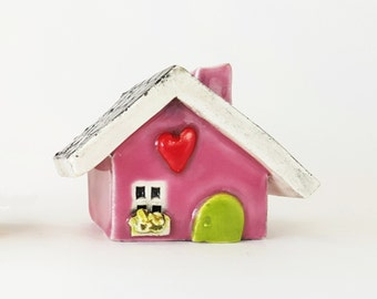 Little Clay House | Ceramic House | Whimsical House | Fairy House | Little Pink House | Miniature House | Tiny House