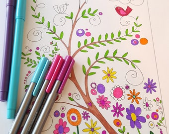 Printable Drawing | Digital Download | Adult Coloring Page | Coloring page | Doodle Print | Digital Print | Black and White Print