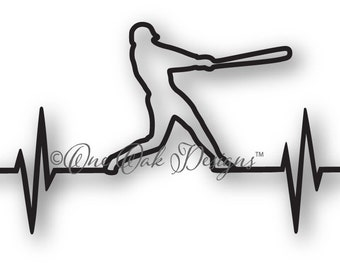 Baseball EKG SVG File dxf / pdf / eps / png/ ai / jpg for Cricut , Cameo, and other electronic cutters