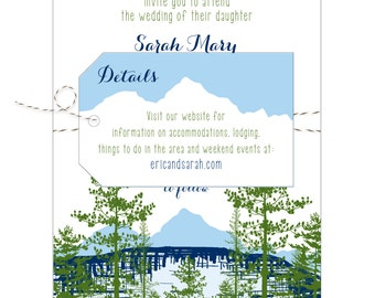 Mountain Lake View Wedding Invitation - Collection options available