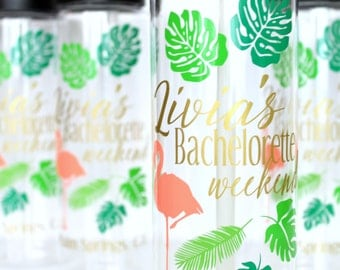 10-19 Bachelorette Water Bottles, Palm Leaves, Pink Flamingos, Personalized, Bridesmaid Gifts, Customizable, Palm Springs, Group Discount