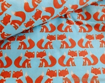 SALE CLEARANCE Zoology Collection, Lovely Orange Forest Woods Baby Fox On Sky Blue- Cotton Fabric (1 Yard)