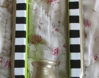 hand painted wood candle sconce upcycle MacKenzie Childs style courtly black & white checks