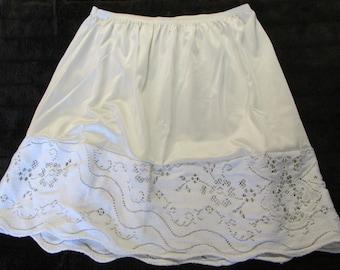Shirt extender nylon & cotton S-M upcycled slip vintage lace refashion under layer off white