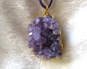 Raw Amethyst Geode Pendant in 24k Gold Electroplated/ Amethyst Quartz Crystal Healing Zen Energy/ Reiki Crystal Pendant