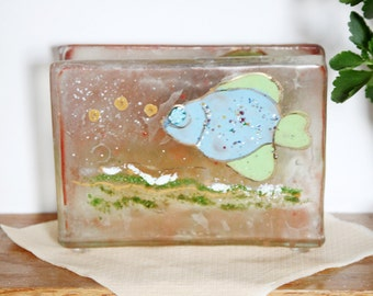Glass Napkin holder light brown,  blue fish Fused glass art .