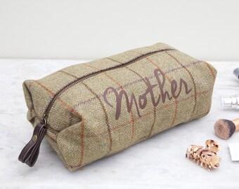 Personalised Tweed Wash Bag