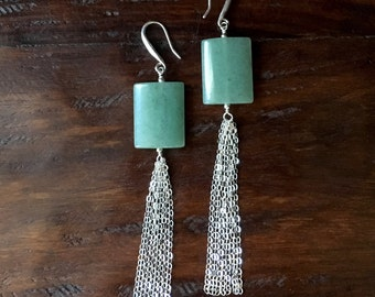 Asia Minor - Aventurine and Sterling Silver Earrings