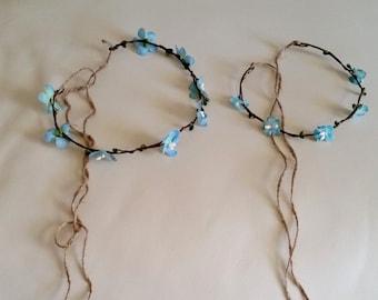 Blue flower crowns Mother daughter set of 2 halos hair wreaths Mommy abd Me accessories aqua robin egg 1st Birthday Baby photo headband