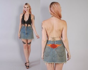 Vintage 70s Levi's JEAN SKIRT / 1970s Boho High Waisted Frayed HARLEY Patch Mini
