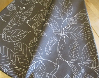 Ikea Stockholm Blad fabric by the yard - Gray and White Leaf Branches