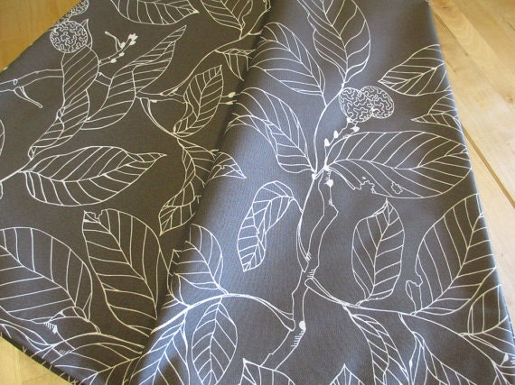 ikea stockholm blad fabric by the yard gray and white leaf. Black Bedroom Furniture Sets. Home Design Ideas