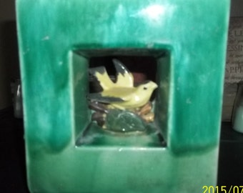 McCoy vase  planter from the early 1950's Green Vace Yellow Bird