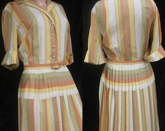 Vintage 60s 1960s Rockabilly Cotton Box Pleats Drop Waist Striped Day Dress