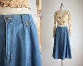 cotton denim midi skirt
