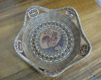 Pine Needle Basket with Wood Burnt Squirrel
