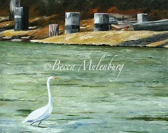 bird painting egret nature Original art painting landscape wildlife fine art