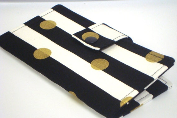 Fabric Checkbook Cover : Fabric checkbook cover holder black and white stripes with