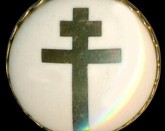 Button--1965 Studio Ceramic Patriarchal Cross Gold On Cream in Brass