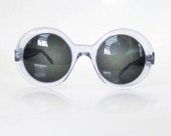 Vintage 1960s Round Oversized Sunglasses Sunglass Frames Mod Mid Century Classic Retro Light Blue Pastel