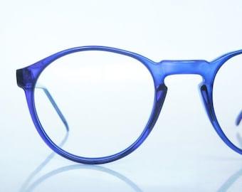 POP SALE 1980s Round Eyeglasses Oversized Womens Mens Unisex Glasses P3 Keyhole Bridge Indie 80s Hipster Chic Cobalt Blue Sea Light Navy Gee