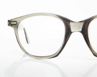 Vintage 1950s Mens Horn Rim Eyeglasses Glasses Opitcal Frames Light Smoke Grey Gray 50s Fifties Mid Century Modern Mad Men Chic