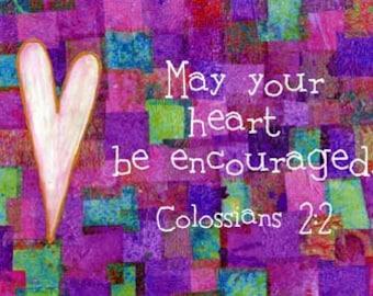 Colossians 2:2 Bible Verse Art Christian Scripture Purple Patchwork Print