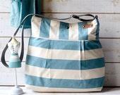 Aquamarine diaper bag, Serenity and Ecru Striped nautical  10 POCKETS / Made to order