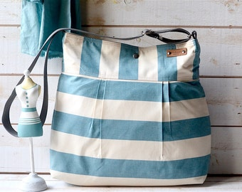 Aquamarine diaper bag, Serenity and Ecru Striped nautical  10 POCKETS / Made to order