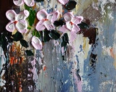 """Original Abstract Oil Painting on Panel Impasto Flowers Heavy Textured Sculpted Painting Pink Cherry Flowers  8x10"""""""