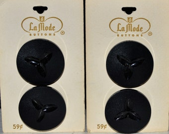 La Mode vintage new on card big black BUTTONS
