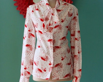 Vintage White Tie Neck Blouse with Ladies Faces by Pykettes