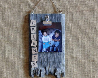 Weathered Barn Wood Picture Holder with Scrabble Tile Friends