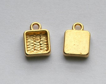 Square Bezel setting- gold tone, 9mm (6mm tray), qty 20+. Deep welled. For charm bracelets, earrings, initial charms. resin Jewelry supplies