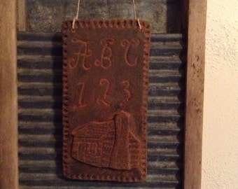 Blackened Beeswax Log Cabin Sampler Ornie #517