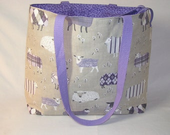 Sheep Sweaters in LAVENDER Zippered Tory Tote - Premium Fabric