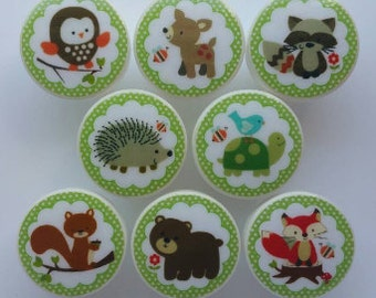 8 FOREST FRIENDS TREETOPS Handmade Knobs m2m Carter's Kids Nursery Room drawer pull kids decor bear owl squirrel