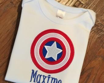 Boys Captain  America Themed Birthday Shirt