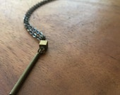 INDRA Necklace - vintage brass cube and cylinder