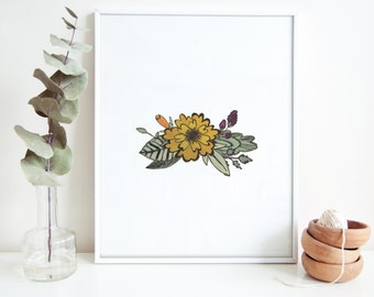 Floral Mustard Watercolor Print