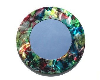 Colorful Artsy Steel Accent Wall Mirror