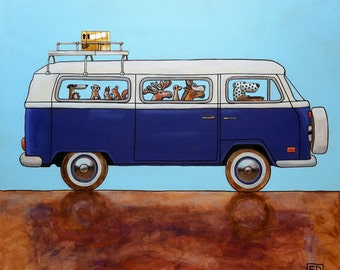 208 VW T2 - folded art card 15x15cm/6x6inch with envelope