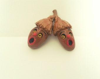 Halloween Folk Art Acorn Conjoined Twins Ooak