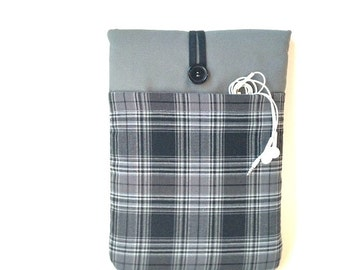 Men's Kindle or Nook Sleeve, Plaid Cover Oasis, Fire, HD, HDX, Paperwhite, Voyage, Glowlight, Case Cord Pocket, Padded eReader- Madras Grey