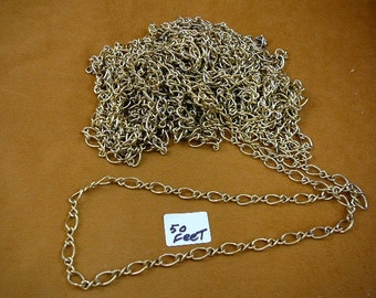 Bulk Fifty 50 feet Gold color brass chain footage Wholesale supply supplies Jewelry necklace crafts (CL-1)