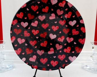 Valentine's Day Plate with Patchwork Hearts