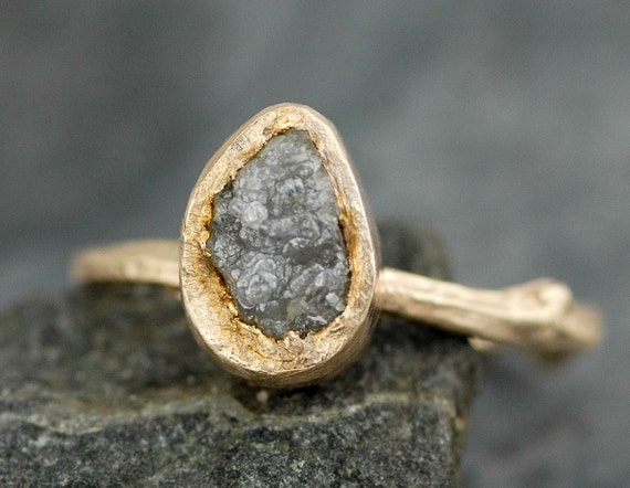 Rough Diamond and 14k Gold Branch Ring- Twig Band, Custom Made Wedding or Engagement Ring in Yellow, White, or Rose Gold  Rough Uncut Stone