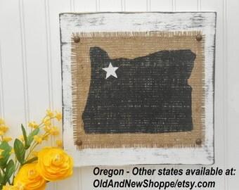 State of Oregon burlap rustic sign