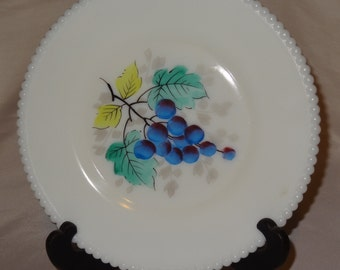 Vintage Westmoreland Milk Glass Grapes Luncheon Plate circa 1953