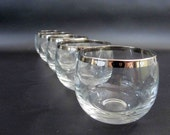 SIx Vintage Roly Poly Glasses w Silver Rims in Dorothy Thorpe Style